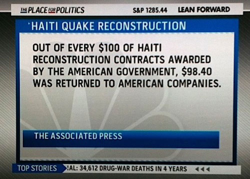 Screen capture from MSNBC summarizing how misdirected funds have done damage